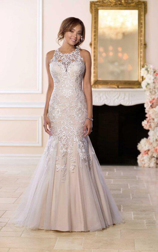 6600 Mermaid Wedding Dress with Halter Neckline by Stella York