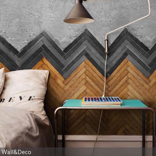 Diese Wandgestaltung mit Fischgrätmuster ist ebenso schick wie außergewöhnlich. - mehr auf roomido.com