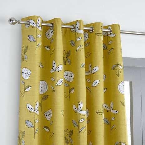 Elements Sunflower Yellow Blackout Eyelet Curtains | Dunelm