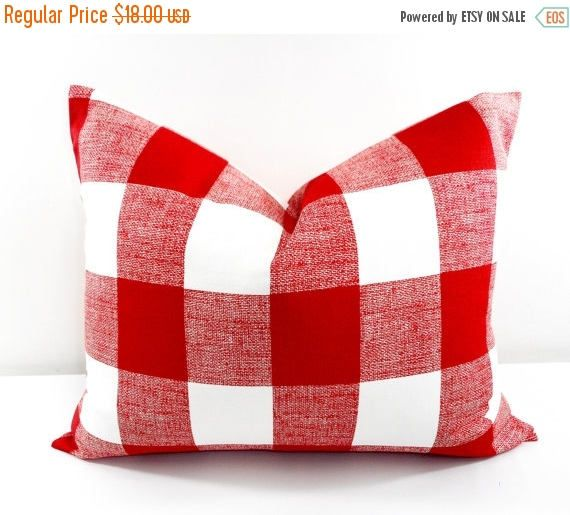 SALE Red Pillow. 16x20 Lumbar  Red Check Cushion Covers. Red
