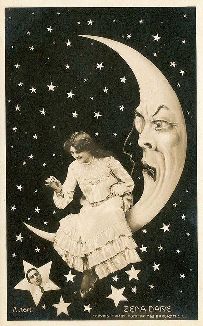☽Vintage Paper Moon Postcard
