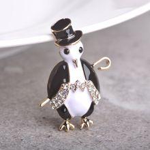 Piękny Penguin Broszki Dla Kobiet Kołnierzyk Koszuli Klip Rhinestone Emalia Gentleman Zwierząt Garnitur Gorro Akcesoria Szpilki Hidżab Up uk(China (Mainland))