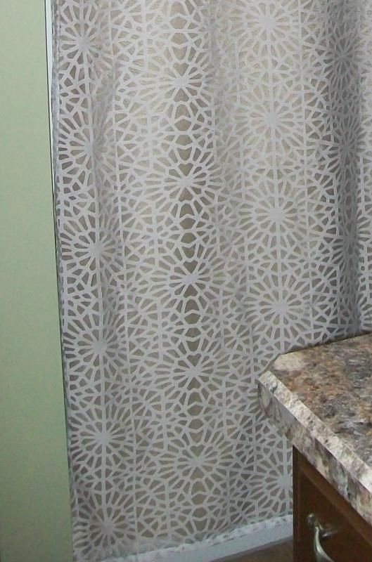 geometric burnout shower curtain tan threshold