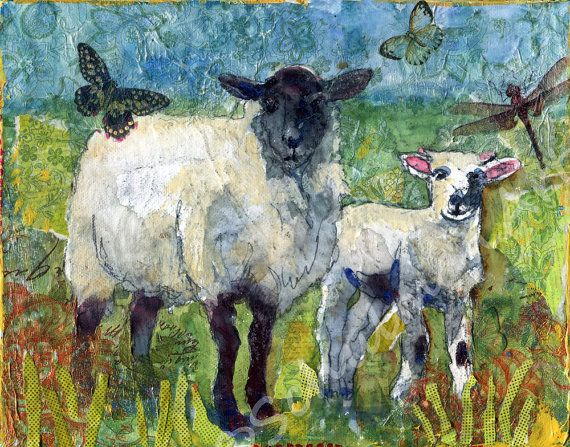 "Sheep Painting,  farm animal mixed media painting on canvas art, 8x10"" Farmhouse Chic Country Home Decor country kitchen"