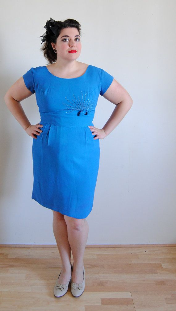 Plus Size Vintage Dress 1960s Blue with Bow by DollFaceProductions