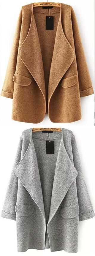 Solid Lapel Long Sleeve Loose Sweater Coat | You can find this at => http://feedproxy.google.com/~r/amazingoutfits/~3/vzDu7YrazOI/photo.php