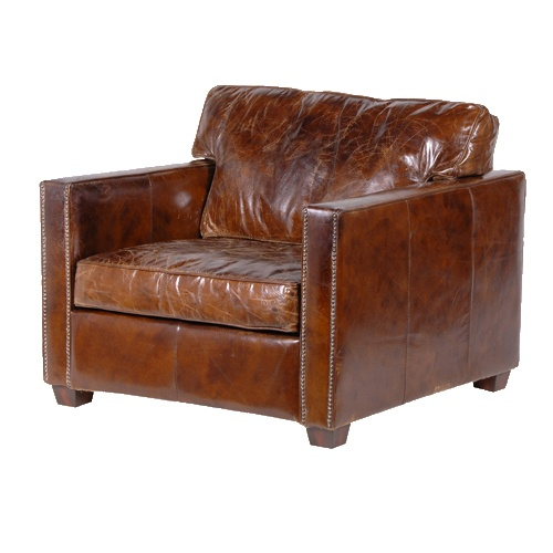 perfectly distressed leather armchair