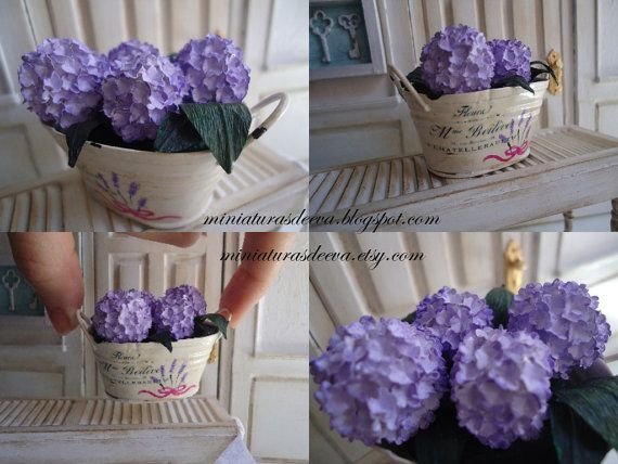 Lilac hydrangea in a vintage basin. Handmade. Plant for dollhouses at 1/12th scale