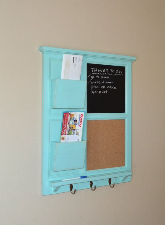 Jamaican sea color, lightly distressed.  Unique Chalkboard & Cork board organizer with Two Mail slots by BeachWoodKreations, $185.00