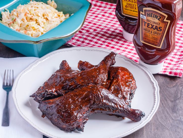 Slow Smoked Chicken Leg Quarters glazed with Heinz BBQ Texas Bold & Spicy BBQ Sauce are smokey, slightly sweet with a little spicy kick. Perfect for your next family gathering!