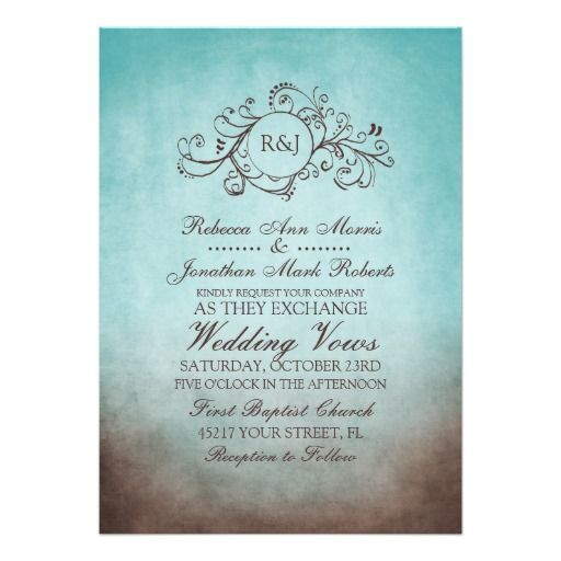 blue and brown wedding invitations | classy teal and turquoise blue and chocolate brown colored invitation ...