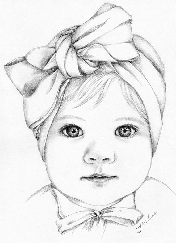 Custom baby girl or family pencil portrait drawing from a photo