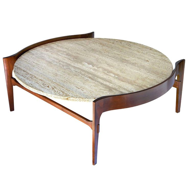 Bertha Schaefer, Travertine and Walnut Coffee Table for Singer & Sons, 1950s.
