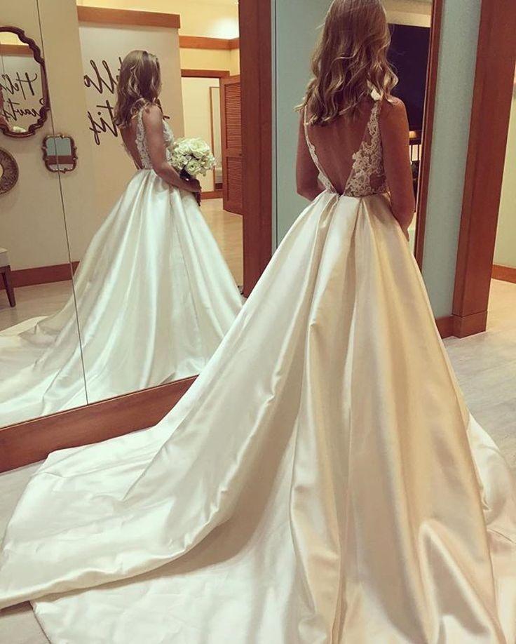 Princess Wedding Dresses elegant lace appliques open back satin ball gowns wedding dresses,412