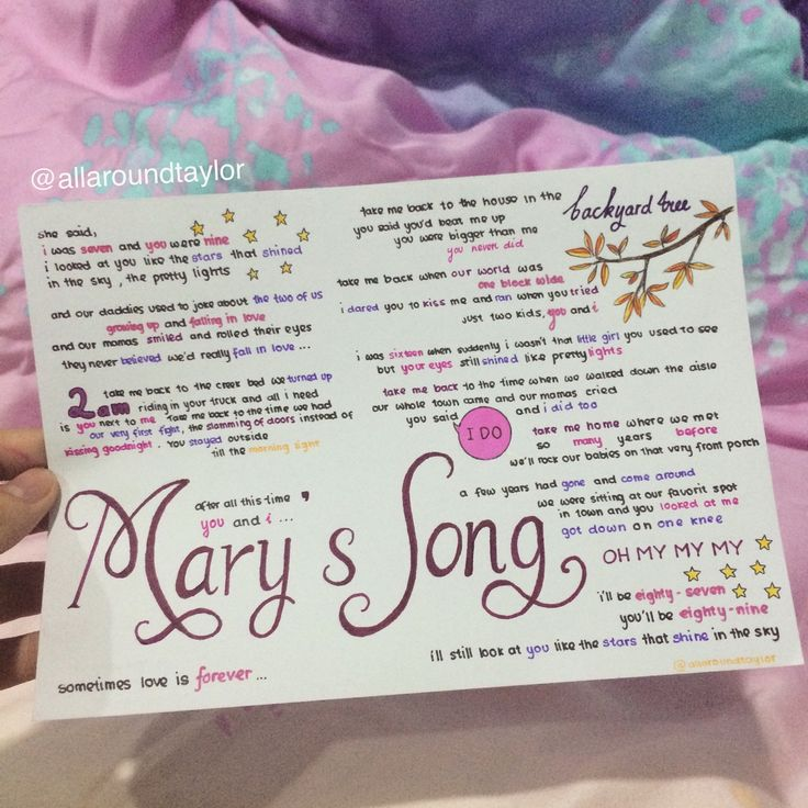 Mary's Song by Taylor Swift lyrics, hand drawn by http://allaroundtaylor.tumblr.com/.