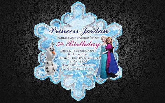 Frozen Snowflake Birthday Invitation by LadyJaneDesign on Etsy