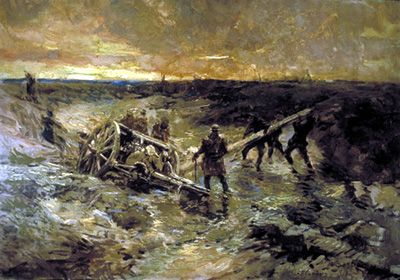 http://www.warmuseum.ca/cwm/exhibitions/canvas/1/cwd435e.shtml. Canadian Gunners in the Mud, Passchendae le, 1917, Alfred Bastien.