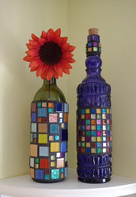 Mosaic bottles by Meaco's Art Garden, via Flickr... Christmas presents maybe? Hmmm...