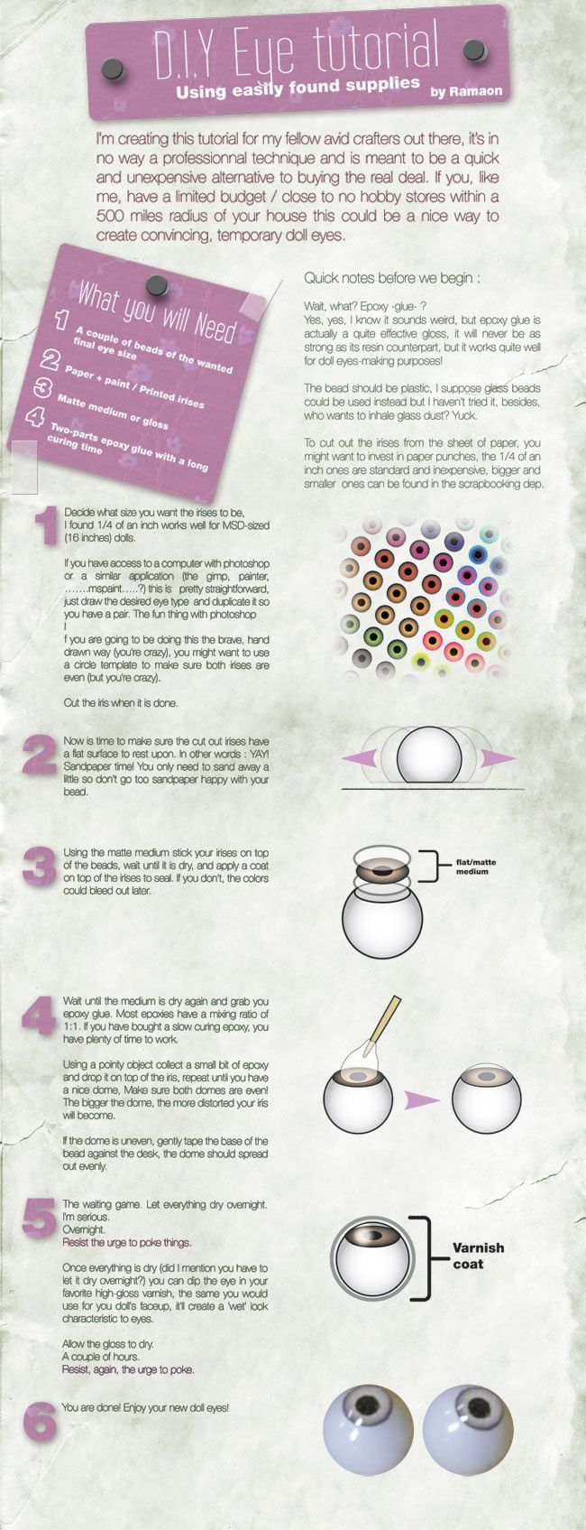 Más como SD BJD tricornio by ©scargeear. How to make your own BJD eyes using epoxy resin, beads, and printed or painted irises.                                                                                                                                                      More