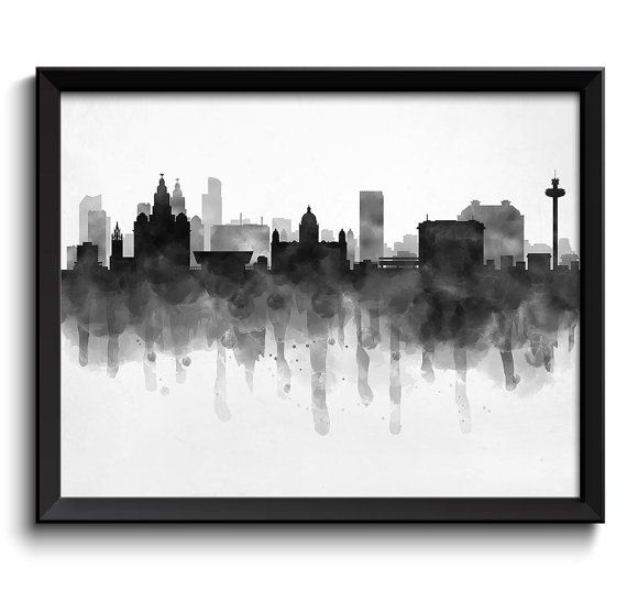 Liverpool Skyline England Europe Cityscape Art Print Poster Black White Grey Watercolor Painting