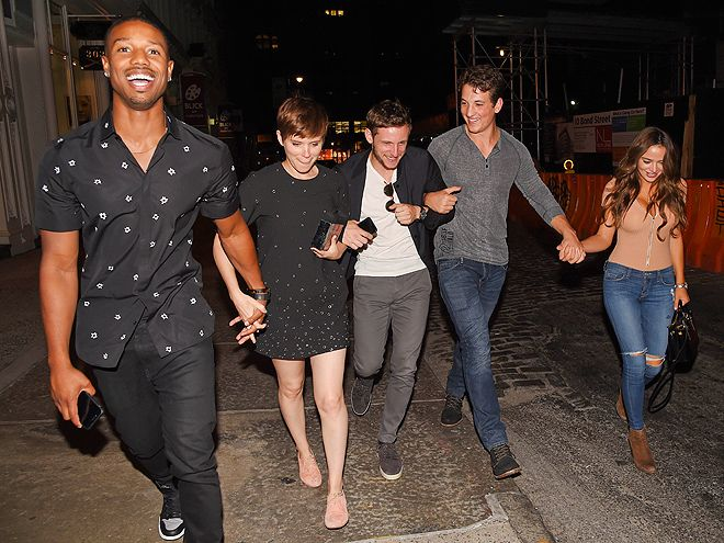 Star Tracks: Monday, August 3, 2015 | FANTASTIC FIVE | The cast of the Fantastic Four – Michael B. Jordan, Kate Mara, Jamie Bell, Miles Teller (and his girlfriend Keleigh Sperry) – giggle uncontrollably while walking to their New York City hotel together on Sunday.