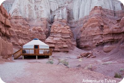 Review and pics of the yurt we are staying at in Goblin Valley State Park, Utah.