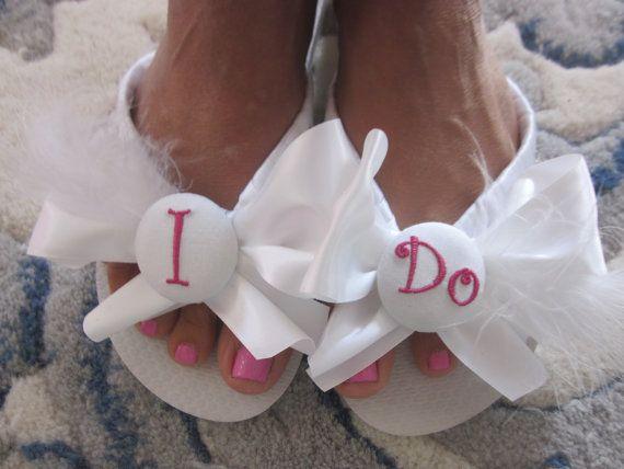 Flip Flop/Wedges for Bride. Beach Weddings.Wedding flip flops. White Satin Ribbon.Ostrich Feather Optional.Free Monogramming.Beach Shoes..