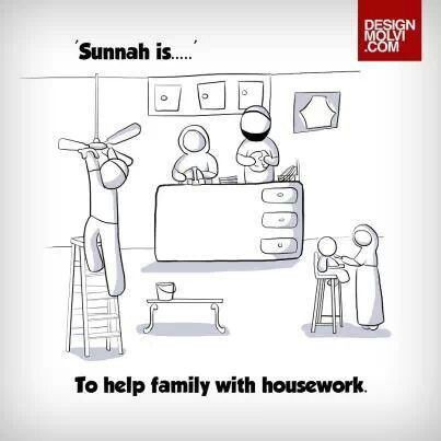 Sunnah is to help family with housework.