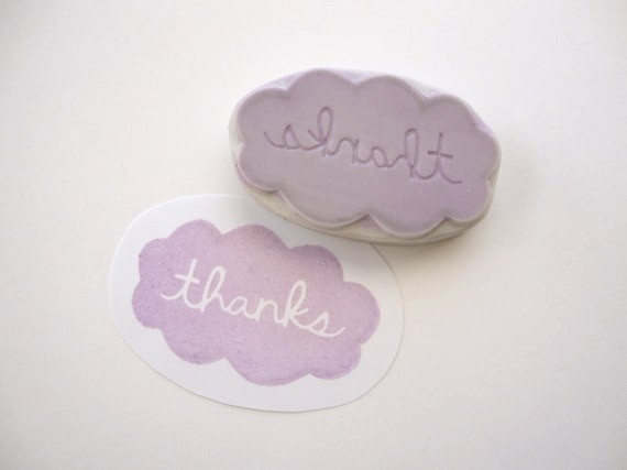 Thanks Cloud Hand Carved Rubber Stamp