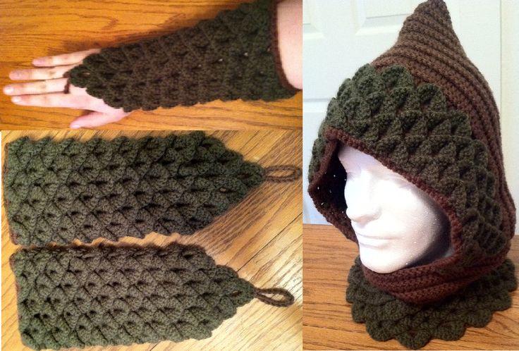 Crochet hood with matching gauntlets by Arexandria.deviantart.com on @deviantART