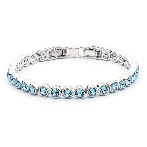 Tennis Bracelet with Aquamarine Swarovski® Crystals