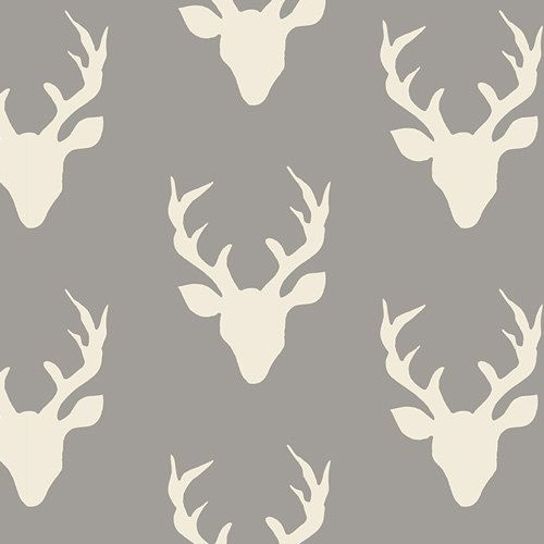 Hello Bear Buck Forest Mist gray and white deer  by Bonnie Christine for AGF.  Love these rustic fabrics, and so happy to have them in the shop!