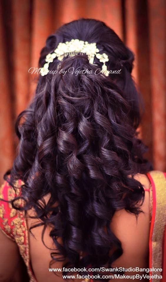 Indian bride's reception hairstyle by Vejetha for Swank Studio. Bridal hair. Curls. Hair Accessory. Tamil bride. Telugu bride. Kannada bride. Hindu bride. Malayalee bride. Find us at https://www.facebook.com/SwankStudioBangalore