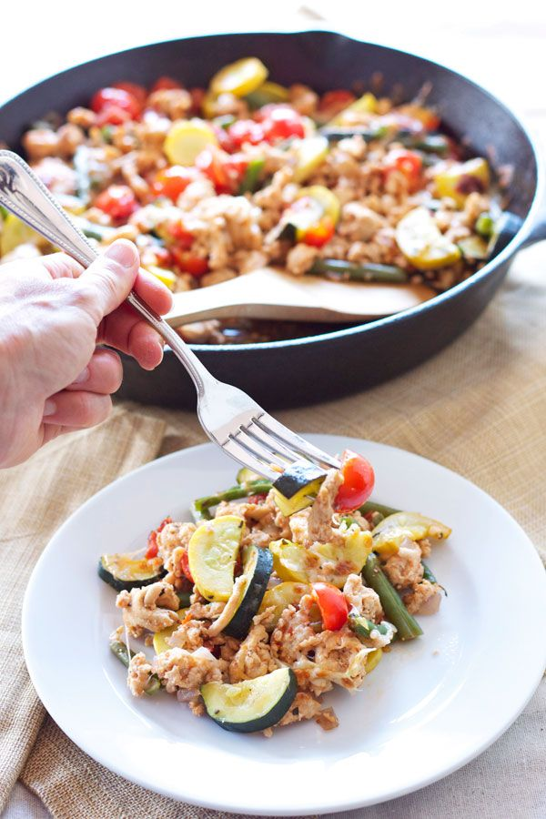 Turkey and Vegetable Skillet |Recipe Runner | My go to easy dinner when I don't feel like cooking! #turkey #glutenfree
