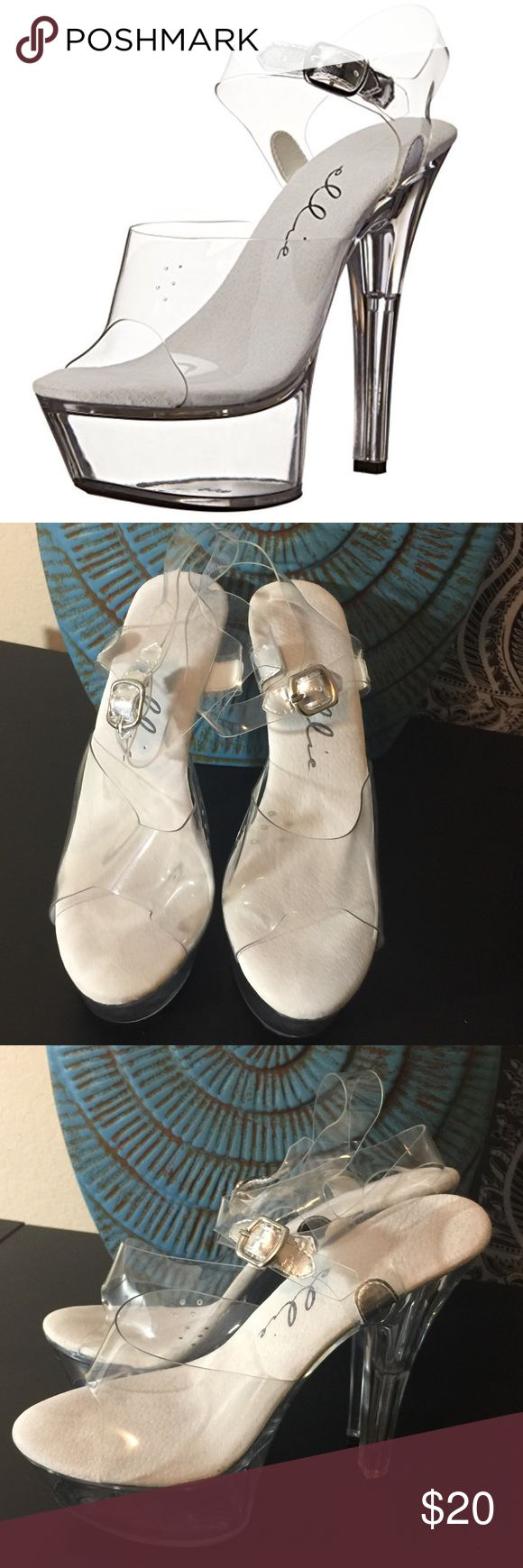 """Ellie 601 Brook Stripper Platforms Clear & White. 6"""" heel. Only worn 1x. Stripper Pole Class in Vegas for my soon to be (now) sister-in-laws bachelorette.  So much fun but I took the shoes off after about 10 min.  Couldn't get through the class with them on.  Lol.  #POSHMARK #BLING #RODEO #FASHIONISTA #COWGIRL #SOUTHWEST #ARIAT #AZTEC #WESTERN #CHIC #FAITH #RUNWAY #CROSS #TRIBAL #BOHO #KENDRA #NAVAJO #STELLA  #SOUTHERN #SPARKLE #CHIC #VEGAS #STRIPPERSHOES #PLATFORMS Ellie Shoes Platforms"""