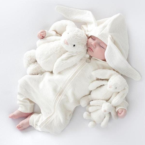 Lala Bunny Ears Hood Jumpsuit (Cream White)