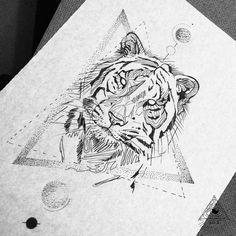 Geometric tiger black work by Broken Ink Tattoo