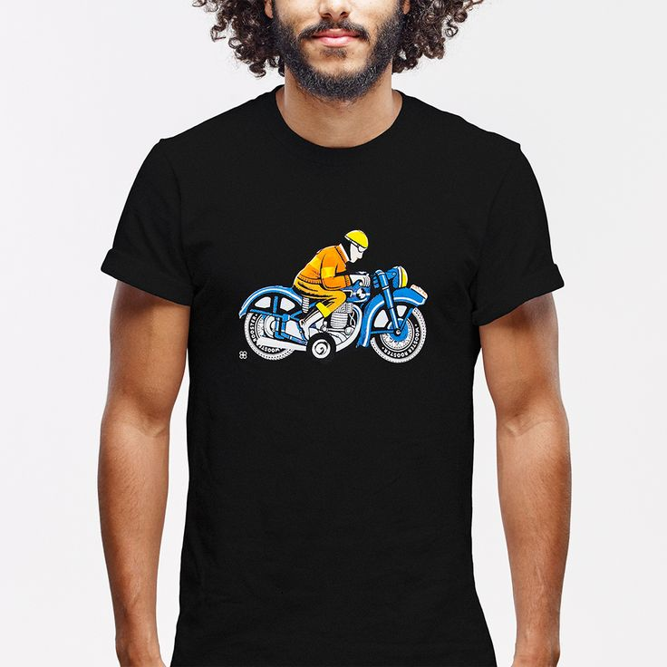 Premium black super soft 100% cotton t-shirt. Featuring a tin toy motorcycle