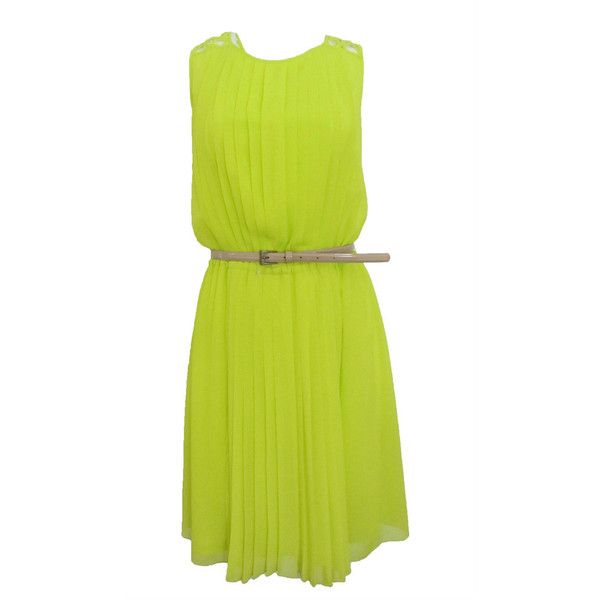JESSICA SIMPSON SLEEVELESS PLEATED DRESS W/ DEEP V BACK NEON LIME SIZE... ($69) ❤ liked on Polyvore featuring dresses, yellow pleated dress, yellow dress, neon dress, lime green dress and no sleeve dress