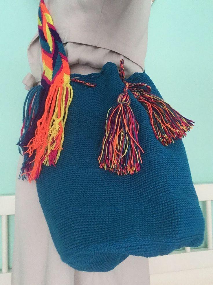 Donker blauwe Wayuu Mochila #Colombia @hippybag.nl