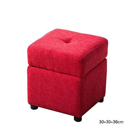 Sed Chair Square Upholstered Footstools Storage Box Seat Folding Foot Stool Linen Fabric Cover Home 303036cm E
