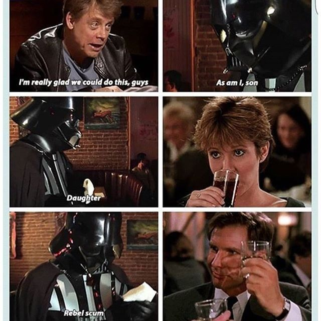 Family get together to sort out their differences. Star Wars - Darth Vader at dinner with the fam.... @starwarsfacts_