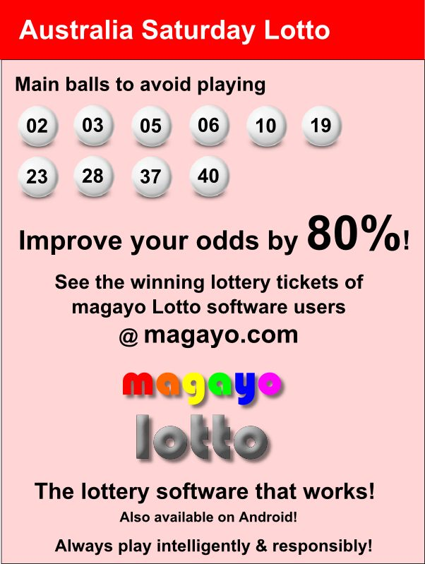 Improve your odds by 80% in winning Australia Saturday Lotto / Tattslotto / Saturday Gold Lotto / Saturday X Lotto