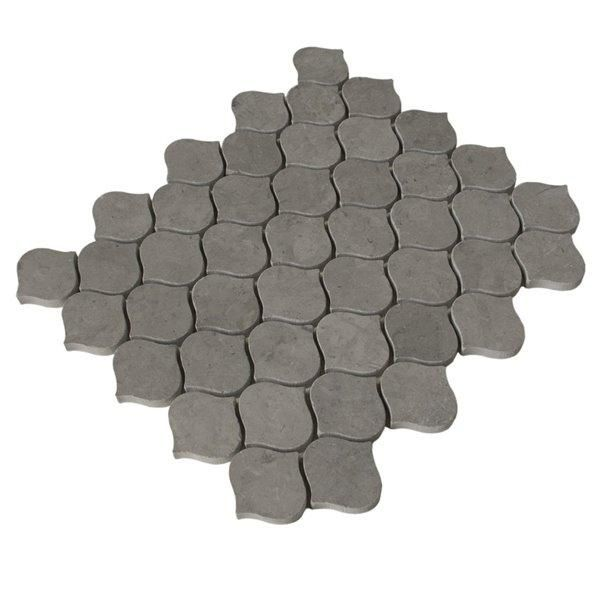 Dark Taupe Honed Marble Droplet Pattern Mosaic Tile In Riverbed Stone Mosaic Tile Mosaic Tiles Honed Marble