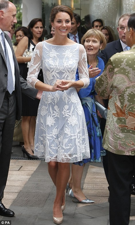 Kate, wearing an elegant ice blue lace dress by Alice Temperley sipped tea and chatted to several guests including shoe designer Jimmy Choo: Duchess Of Cambridge, The Duchess, Katemiddleton, Alice Temperley, Kate Middleton, Teas Parties, Lace Dresses, Kuala Lumpur, Princesses Kate
