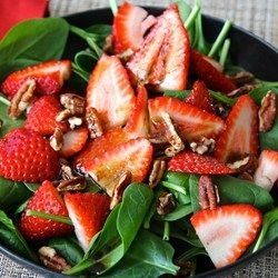 Strawberry and Spinach Salad with Honey Balsamic Vinaigrette. All ingredients point to Healthy Eyes.