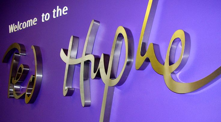 Stainless steel signage for interior spaces by Space3.co.uk