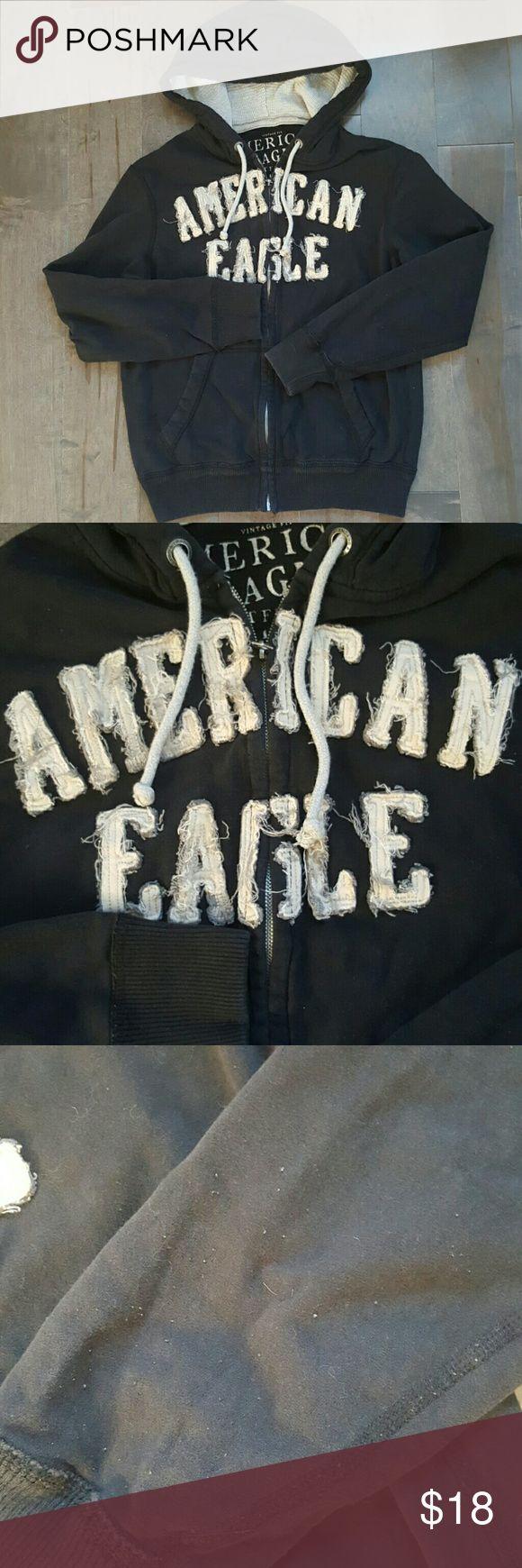 🎉BOGO 50% OFF🎉Men's American Eagle Hoodie Men's black zip up hoodie. Minor pilling (pls see pics 3 & 4). American Eagle Outfitters Shirts Sweatshirts & Hoodies
