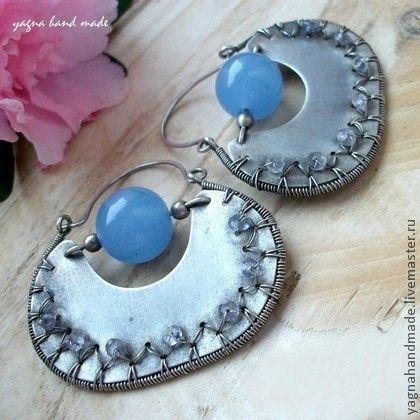 Серебряные серьги - голубой халцедон и ёлит - серебряные серьги,синий