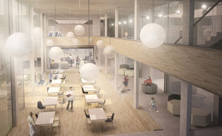 School complex - design proposal, interior of cafeteria, Ivana Linderova, 2014